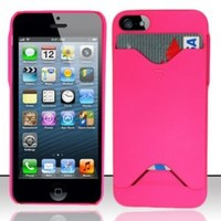 Apple iPhone 5 Hard Pink Credit Card Holder Case Cover Protector with Free Gift Reliable Accessory Pen