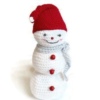 CIJ SALE Christmas in July Snowman Decoration Snowman Ornament Christmas Decoration Christmas Ornament Crochet Snowman  Winter Decor Snowman