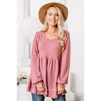 Day After Day Ribbed Berry Babydoll Top