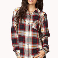 FOREVER 21 Plaid Pocket Shirt Navy/Red Medium