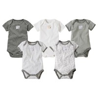 Newborn Burt's Bees Baby 5-Pack Bodysuit - Heather Grey