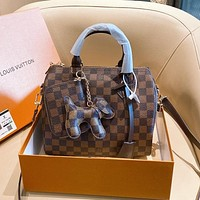 Louis Vuitton LV coffee grid bucket bag simple all-match single shoulder bag
