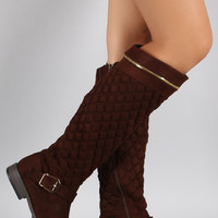 Bamboo Quilted Suede Zipper Trim Riding Knee High Boots