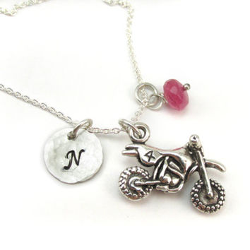 Dirt Bike Or Motocross Personalized Birthstone Initial Necklace, Sterling Silver Dirt Bike Charm, MX Jewelry, Moto Mom Gift, Supercross, AMA