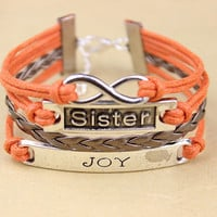 Infinity sisters with JOY bracelet, orange wax rope with bronze braided leather bracelet, and the best friendship gift, sisters gifts