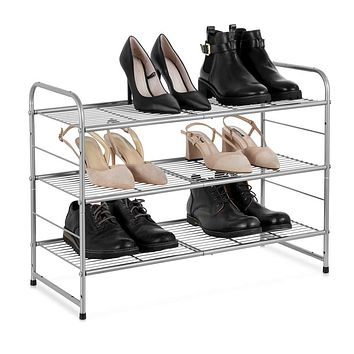Auledio 3-Tier Stackable Shoe Rack, Adjustable Wire Grid Shoe Organizer Storage,Extra Large Capacity, Space Saving, Fits Boots, High Heels, Slippers and More(Silver)