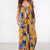 I Love Me Front Tie Floral Jumpsuit (Mustard)