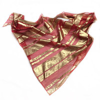 Red Gold scarf, Wedding accessories for party, Cute gift for her, Holiday Gift for Coworker, Gold Red Scarf, Birthday Day Gift for Her
