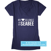 My heart belongs to a seabee tshirt, Navy wife shirt, Navy girlfriend shirt, Navy fiance shirt, I love my seabee, navy clothing