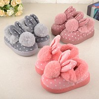 Children'S Cotton Shoes Kids Home Slippers Boys And Girls Baby Cute Rabbit Ears Plush Ball Thickening Warm Indoor Shoes Fashion