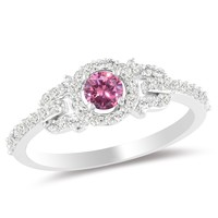 Pink and White Diamond Fashion Ring in 14k White Gold