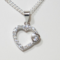 .925 Sterling Silver Heart Necklace Set