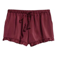Satin shorts - Burgundy - Ladies | H&M GB