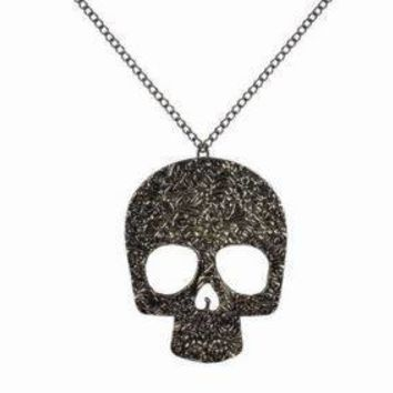 Stainless Steel Carved Skull Necklace and Charm Set