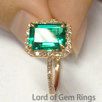 Emerald Shape Emerald Engagement Ring  Pave Diamond Wedding 14K Rose Gold 6x8mm