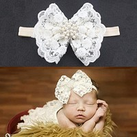 Baby Kids Headband Rhinestone Faux Pearl Lace Bow Hair Bands Photography Props