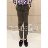 Casual Style Solid Color Chic Clipping Men's Corduroy Pants