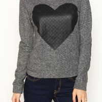 Heart Patched Two Tone French Terry Sweatshirt
