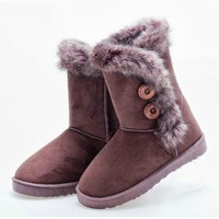 Womens Autumn Winter Flat Shoes Ankle Boots Snow Bootie Faux Fur Buttons HOT 1o8
