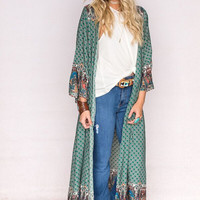 Secret Garden Maxi Duster In Green