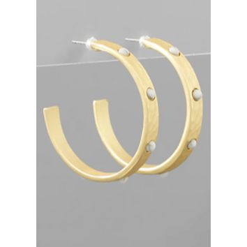 GOLD BALL STUDED HOOPS