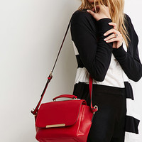 Plated Faux Leather Crossbody