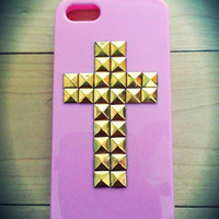 Pastel pink iPhone 5 studded cross case