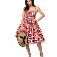 1950s Style Red & White Barbecue Print Paris Swing Dress