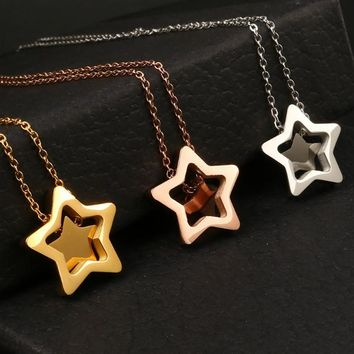 Double Star Dainty Necklace - Stainless Steel