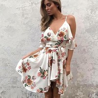 Off Shoulder Deep V Neck Boho Floral Print Mini Dress Ruffles Beach Sexy Backless Short Dresses