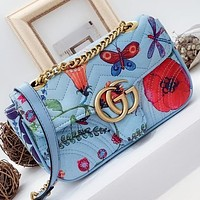 GUCCI New fashion floral butterfly dragonfly print leather shoulder bag crossbody bag Blue