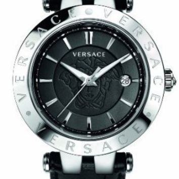 """Versace Men's 23Q99D008 S009 """"V-Race"""" 3 Stainless Steel Watch with Leather Band and Interchangeable Bezel"""