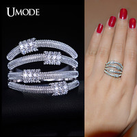 UMODE Carpo Series Artistic 4 Metal Lassos with Micro Cubic Zirconia Band Ring White Gold Color Jewelry For Women UR0168B