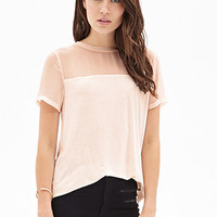 LOVE 21 Sheer-Paneled Jersey Tee
