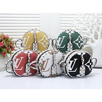 """LV"" Louis Vuitton printed round cake fashion casual trend slanting shoulder bag"
