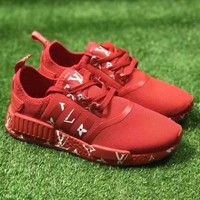 adidas NMD x LV Louis Vuitton Boost Fashion Trending Leisure Running Sports Shoes RED  H Z