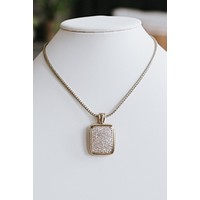 Rhinestone Rectangle Pendant Necklace