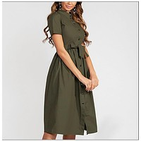 Women Solid Color Cotton Dress Elegant Single Button Stand Collar Casual Dress for Female Summer Fashion Vestidos