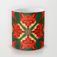 Fox Cross geometric pattern Mug by chobopop