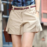 Female summer plus size Casual Loose Folds To Cotton Shorts women cotton slim shorts