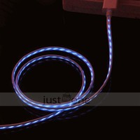 Blue Visible LED Glowing USB Charger Charging & Data Sync Cable for iPhone 4/ 4S