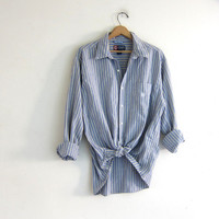 Vintage cotton shirt. Tomboy button down stripe shirt. Boyfriend shirt. pale yellow and blue Chap's pocket top / XL