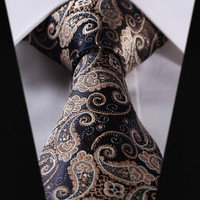 Black Paisley Tie with Gold and White Accents Design