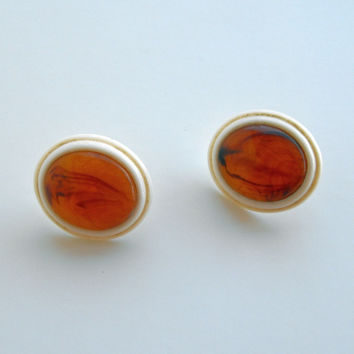 Amber and French Ivory Celluloid Clip On Earrings Vintage Jewelry