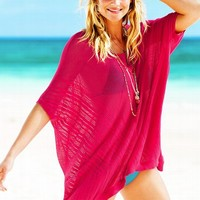 Open-stitch Poncho Cover-up Sweater