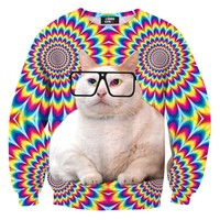 Psychedelic Trippy Kitty Cat Face Graphic Rainbow Print Unisex Sweater