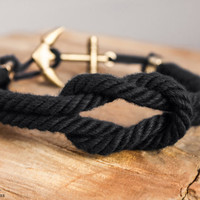 Reef knot nautical rope bracelet with anchor clasp - Black