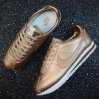 NIKE Cortez  Fashion Women Running Sport Casual Shoes Sneakers man GOLD