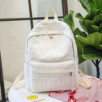 Fashion Backpack Girl Women Lace Patch work Backpack School Backpacks for Teenager Girl Quality Student Travel Bag Mochilas 525