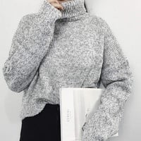 Gray Cropped Turtleneck Sweater